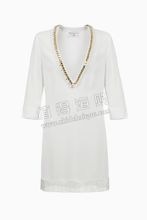 奢侈品代购 ELISABETTA FRANCHI 2016春夏新款 V领与编织链边纱连衣裙