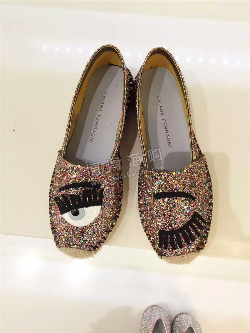 海外意大利品牌正品代购 Chiara Ferragni 女鞋渔夫鞋 金色