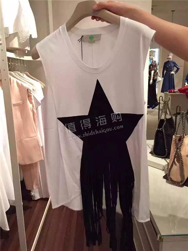 Stella McCartney 2016年新款女装 星星流苏上衣 T恤 stella代购