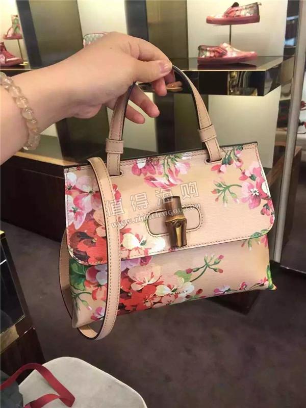 Gucci 2016年新款Bamboo Daily花朵印花手提包 古驰新款意大利代购