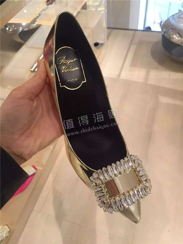 RV 2016年新款女鞋 方扣带钻高跟鞋 Roger Vivier新款专柜正品意大利代购