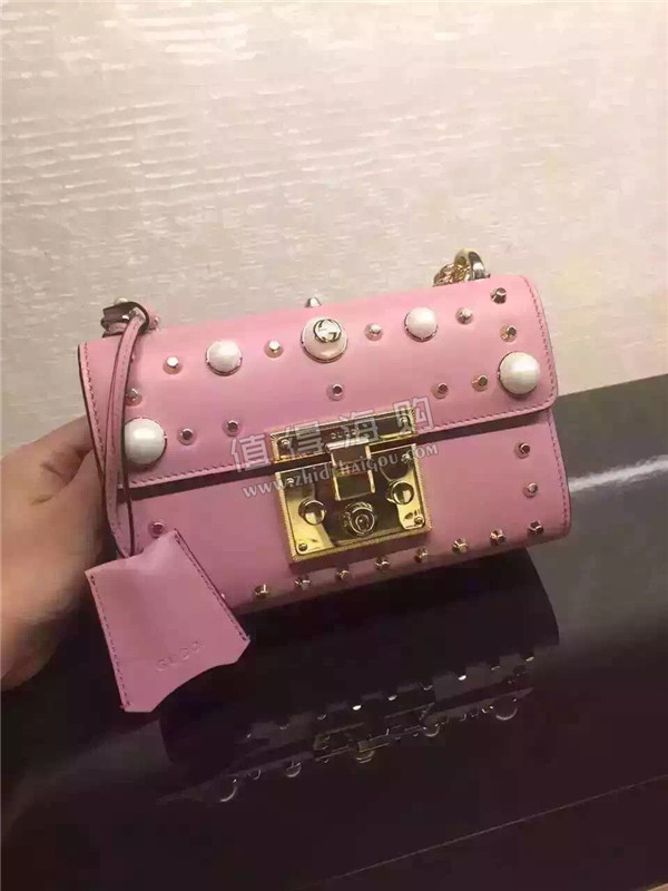 Gucci 2016年秋冬新款Padlock系列粉色真皮单肩包 Gucci意大利正品代购