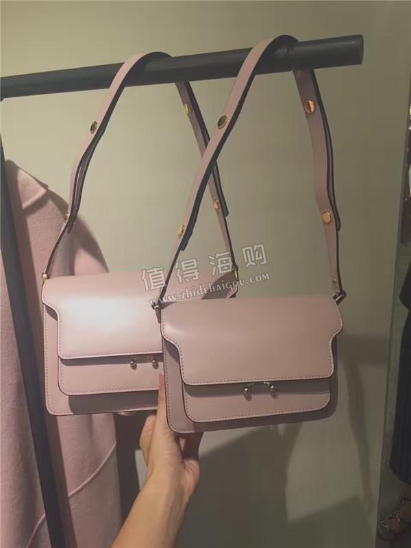 Marni 2016年新款 樱花粉色Trunk手袋 单肩包 Marni意大利正品代购