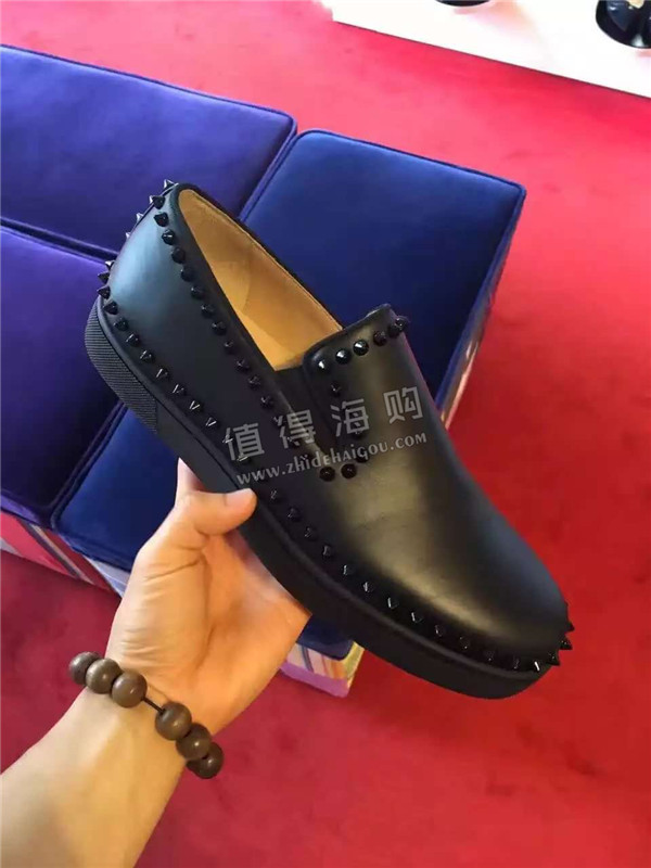 CL红底鞋2016年秋冬最新款铆钉红底男士皮鞋 Christian Louboutin意大利正品代购