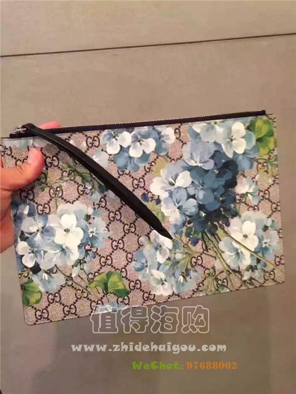 Gucci 双面蓝色花卉印花真皮手包 男女合适的手包 Gucci意大利代购