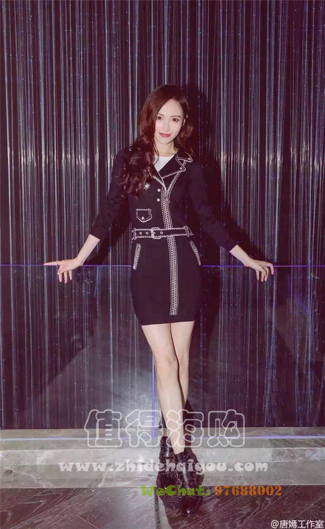 Moschino 2016年秋冬新款女装 连衣裙 唐嫣同款连衣裙 Moschino女装意大利代购