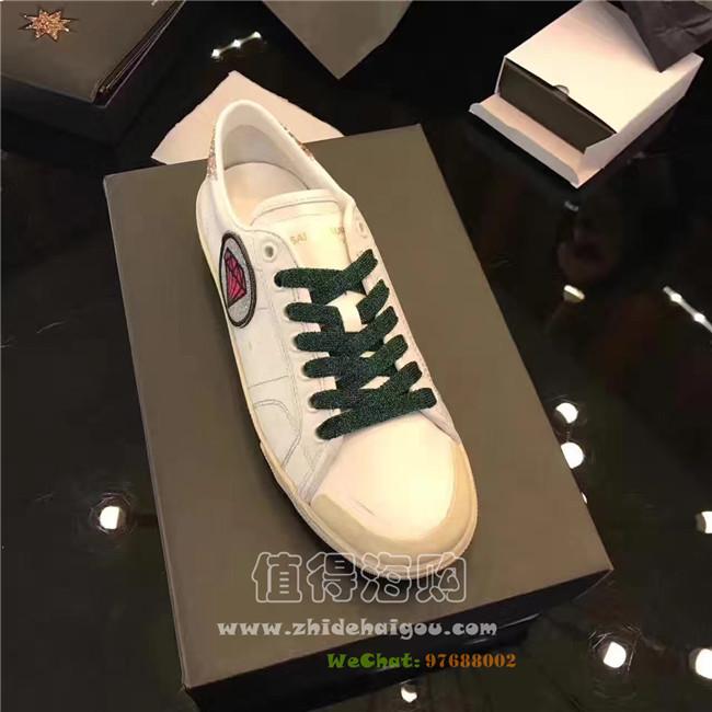 Saint Laurent Paris 2017年新款 春夏新款女鞋 杨幂唐嫣同款SLP小白鞋 SLP意大利正品代购