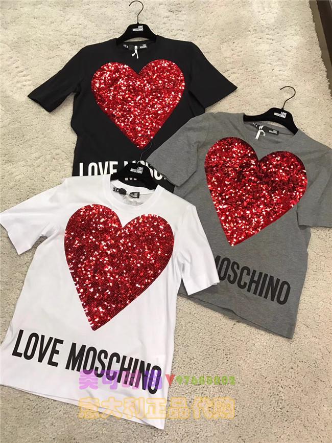 Love Moschino 2018春夏新款女装T恤 圆领爱心短袖T恤 moschino意大利专柜正品代购