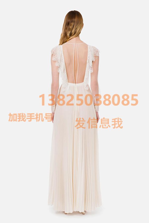 Elisabetta Franchi 21春夏最新款刺绣褶裥红地毯连衣裙