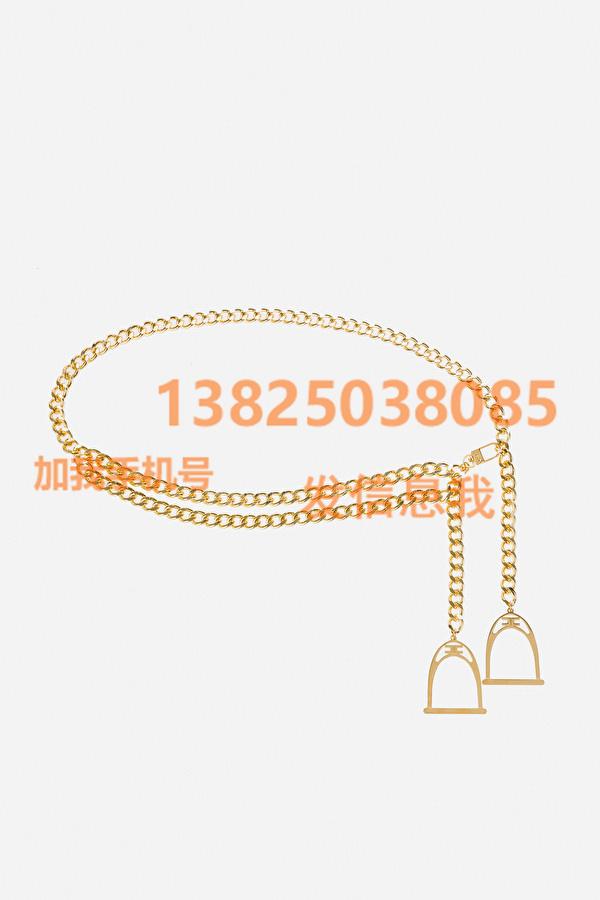 ElisabettaFranchi 21秋冬女装新款带吊饰的金链带腰链